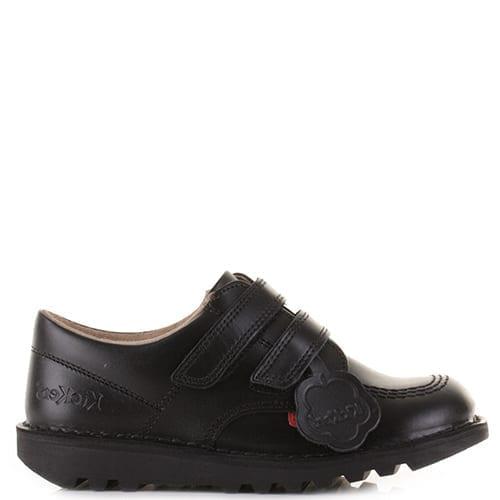Kickers Kick Lo Vel J Black Leather Junior School Shoes