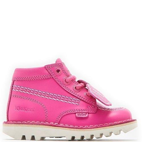 BNIB Kickers JOULES Girls Pink Kick Hi Shoes Size 10 1 or 2 Boots